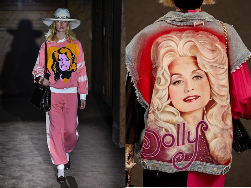 """Sau danh ca Elton John, nữ ca sĩ country Dolly Parton trở thành """"nàng thơ"""" mới trong những sáng tạo cho mùa Xuân Hè 2019 của Gucci."""