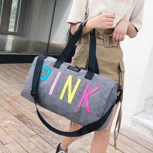 Tui Pink chu mau - Xam - PK067