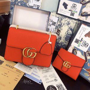 Set tui kem vi Gucci GG Marmont da Togo - Cam - G02-ORANGE (1)