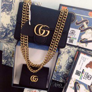 Set tui kem vi Gucci GG Marmont da Togo - Den - G02-BLACK (1)